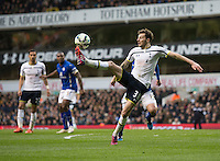 21.03.2015.  London, England. Barclays Premier League. Tottenham Hotspur versus Leicester. Tottenham Hotspur's Ryan Mason looks to control high ball. ; Mason was made interim team manager for 2021 season after Spurs sacked Jose Mourinho. Mason retired from playing for Tottenham after suffering a fractured skull in a game in early 2017 at Hull.
