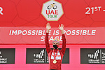 Race leader Tadej Pogacar (SLO) UAE Team Emirates finishes 2nd and extends his overall lead at the finish of Stage 5 of the 2021 UAE Tour running 170km from International Marine Club Fujairah to Jebel Jais, Fujairah, UAE. 25th February 2021. <br /> Picture: LaPresse/Gian Mattia D'Alberto   Cyclefile<br /> <br /> All photos usage must carry mandatory copyright credit (© Cyclefile   LaPresse/Gian Mattia D'Alberto)