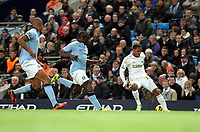 Barclays Premier League, Man City (blue) V Swansea City (white) Etihad Stadium, 27/10812<br /> Pictured: De Guzman of Swansea not afraid to run at the City defense<br /> Picture by: Ben Wyeth / Athena Picture Agency