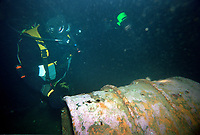 A diver from the envirnomental organisation Bellona find barrels dumped in the Oslofjord in 1996. This was near the island of Aspond and further investigations reveald around 6000 barrels and cans had been dumped from the time around the second world war up intil the 1970s. <br /> <br /> ©Fredrik Naumann/Felix Features