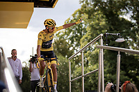 Yellow Jersey and the Tour de France winner 2019 Egan Bernal (COL/Ineos) at the pre stage sign on.<br /> <br /> Stage 21: Rambouillet to Paris (128km)<br /> 106th Tour de France 2019 (2.UWT)<br /> <br /> ©kramon
