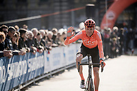 Michael SCHÄR (SUI/CCC) greeting the crowds at the start<br /> <br /> 110th Milano-Sanremo 2019 (ITA)<br /> One day race from Milano to Sanremo (291km)<br /> <br /> ©kramon