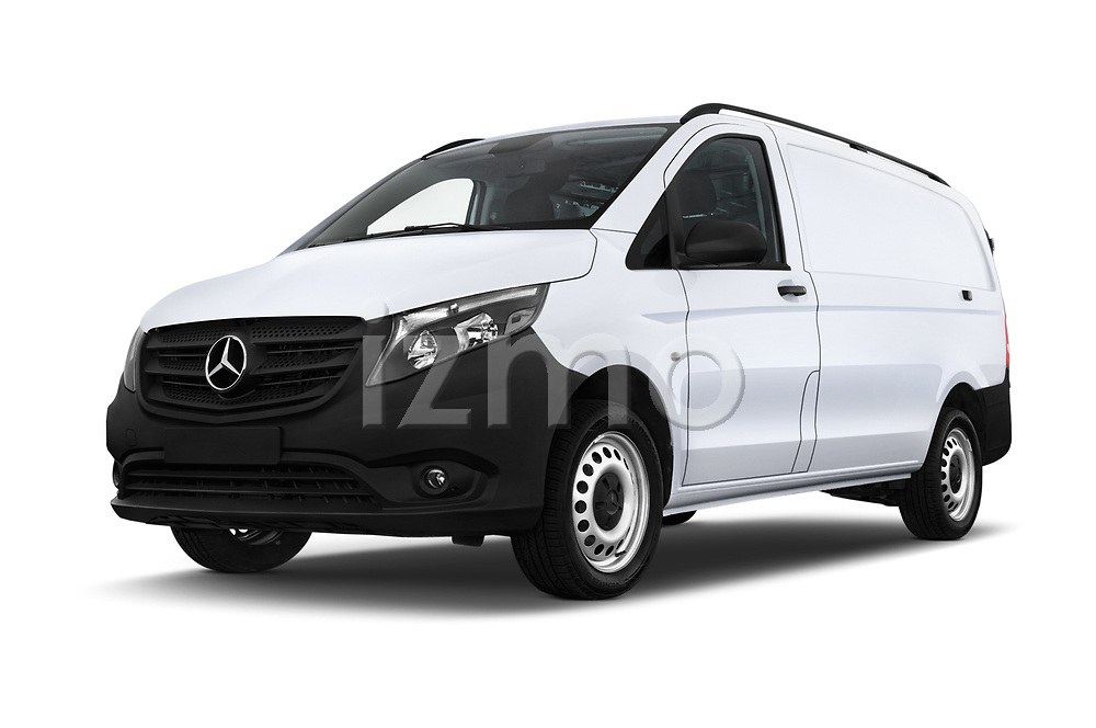 Stock pictures of low aggressive front three quarter view of a 2019 Mercedes Benz Metris Base 5 Door Cargo Van