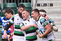 21st November 2020; Recreation Ground, Bath, Somerset, England; English Premiership Rugby, Bath versus Newcastle Falcons; Ben Stevenson of Newcastle Falcons celebrates with his team after scoring a try