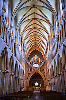 The aisle of the medieval Wells Cathedral built in the Early English Gothic style in 1175, Wells Somerset, England