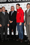Real Madrid player Iker Casillas (c) and the President Florentino Perez participate and receive new Audi during the presentation of Real Madrid's new cars made by Audi at the Jarama racetrack on November 8, 2012 in Madrid, Spain.(ALTERPHOTOS/Harry S. Stamper)