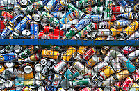 Aluminium cans in a recycling bank. Dunsop Bridge, Lancashire.