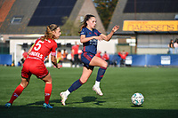Jill Janssens (7) of OH Leuven and Pauline Windels (5) of Zulte Waregem  pictured during a female soccer game between SV Zulte - Waregem and Oud Heverlee Leuven on the sixth matchday of the 2021 - 2022 season of Belgian Scooore Womens Super League , saturday 9 of October 2021  in Zulte , Belgium . PHOTO SPORTPIX | DIRK VUYLSTEKE
