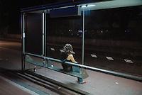 - Milan, bus  stop in Padova street....- Milano, fermata dell'autobus in via Padova