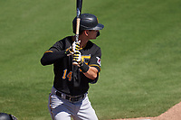 Pittsburgh Pirates Jared Oliva (14) bats during a Major League Spring Training game against the Baltimore Orioles on February 28, 2021 at Ed Smith Stadium in Sarasota, Florida.  (Mike Janes/Four Seam Images)