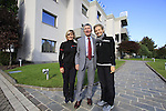 Pietro Santini company founder and President pictured with daughters Paola, Marketing Manager and Monica, Managing Director, outside the Santini Factory, Lallio, Italy. 30th September 2015.<br /> Picture: Eoin Clarke | Newsfile