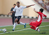 Stefan Jerome kicks the ball. US Under-17 Men's National Team defeated United Arab Emirates 1-0 at Gateway International  Stadium in Ijebu-Ode, Nigeria on November 1, 2009.