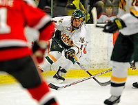 3 January 2009: University of Vermont Catamount defenseman Patrick Cullity, a Junior from Tewsbury, MA, in action against the St. Lawrence Saints during the championship game of the Catamount Cup Ice Hockey Tournament at Gutterson Fieldhouse in Burlington, Vermont. The Cats defeated the Saints 4-0 and won the tournament for the second time since its inception in 2005...Mandatory Photo Credit: Ed Wolfstein Photo