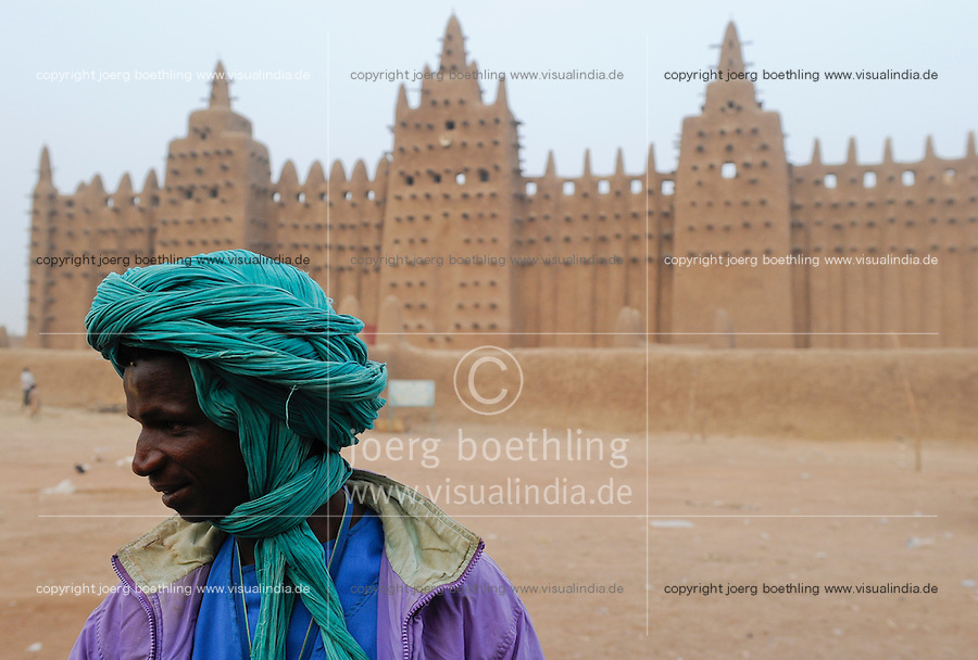 MALI Djenne , Groesste Moschee aus Lehm ist UNESCO Weltkulturerbe / MALI Djenne , Grand Mosque build from clay is UNESCO world heritage