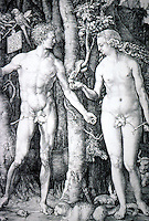 Visual Arts:  Albrecht Durer--The Fall of Man (Adam and Eve)  Engraving 1504.  On this one print Durer signed his full name.