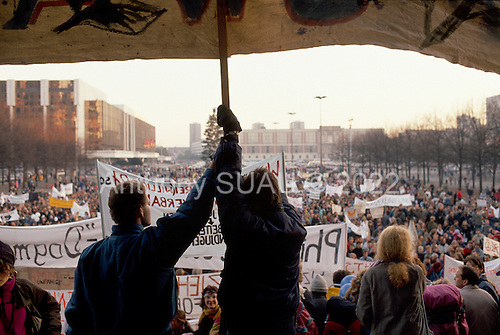 East Berlin, East Germany<br /> November 17, 1989 <br /> <br /> East Germans at an anti-government demonstration. East Germans travel to the West after the East German government lifted travel and emigration restrictions regulations on November 9, 1989.