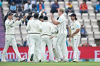The New Zealanders celebrate the huge wicket of Kohli, LBW to Kyle Jamieson, New Zealand during India vs New Zealand, ICC World Test Championship Final Cricket at The Hampshire Bowl on 20th June 2021