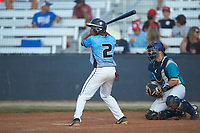Parker Agosta (2) (East Gaston HS) of the Dry Pond Blue Sox at bat against the Mooresville Spinners at Moor Park on July 2, 2020 in Mooresville, NC.  The Spinners defeated the Blue Sox 9-4. (Brian Westerholt/Four Seam Images)