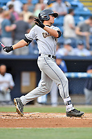 Charleston RiverDogs center fielder Blake Rutherford (23) swings at a pitch during a game against the Asheville Tourists at McCormick Field on July 6, 2017 in Asheville, North Carolina. The Tourists defeated the RiverDogs 13-9. (Tony Farlow/Four Seam Images)