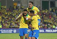 BUCARAMANGA - COLOMBIA, 09-02-2020: Matheus Cameiro Cunha (#9) de Brasil celebra después de anotar el segundo gol de su equipo durante partido entre Argentina U-23 y Brasil U-23 por el cuadrangular final como parte del torneo CONMEBOL Preolímpico Colombia 2020 jugado en el estadio Alfonso Lopez en Bucaramanga, Colombia. / Matheus Cameiro Cunha (#9) of Brazil celebrates after scoring the first goal of his team during match between Argentina U-23 and Brazil U-23 for for the final quadrangular as part of CONMEBOL Pre-Olympic Tournament Colombia 2020 played at Alfonso Lopez stadium in Bucaramanga, Colombia. Photo: VizzorImage / Jaime Moreno / Cont