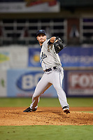 Mobile BayBears relief pitcher Ryan Clark (28) delivers a pitch during a game against the Mississippi Braves on May 7, 2018 at Trustmark Park in Pearl, Mississippi.  Mobile defeated Mississippi 5-0.  (Mike Janes/Four Seam Images)