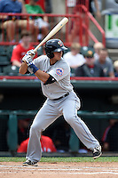 Binghamton Mets shortstop T.J. Rivera (5) at bat during a game against the Erie Seawolves on July 13, 2014 at Jerry Uht Park in Erie, Pennsylvania.  Binghamton defeated Erie 5-4.  (Mike Janes/Four Seam Images)