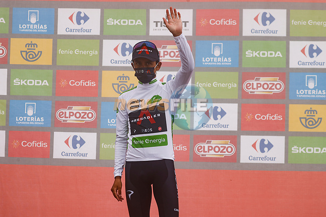 Egan Bernal (COL) Ineos Grenadiers retains the young riders White Jersey at the end of Stage 18 of La Vuelta d'Espana 2021, running 162.6km from Salas to Alto del Gamoniteiru, Spain. 2nd September 2021.    <br /> Picture: Luis Angel Gomez/Photogomezsport | Cyclefile<br /> <br /> All photos usage must carry mandatory copyright credit (© Cyclefile | Luis Angel Gomez/Photogomezsport)