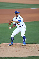 Michael Martinez (16) of the Rancho Cucamonga Quakes pitches against the San Jose Giants at LoanMart Field on August 19, 2021 in Rancho Cucamonga, California. (Larry Goren/Four Seam Images)