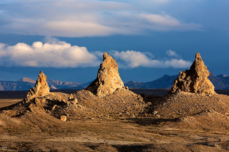 Sunset on a group of tufa spires at the Trona Pinnacles