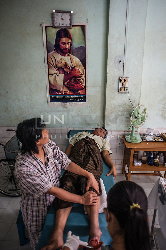 Patients of Baptist leprosy hospital. South-East myanmar. Baptist leprosy hospitals – last one of tree hospitals in Myanmar, which have been taken away from Baptist church by government during military rule.