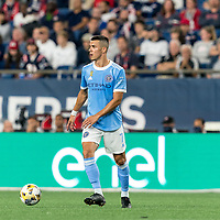 FOXBOROUGH, MA - SEPTEMBER 11: Alfredo Morales #7 of New York City FC looks to pass during a game between New York City FC and New England Revolution at Gillette Stadium on September 11, 2021 in Foxborough, Massachusetts.