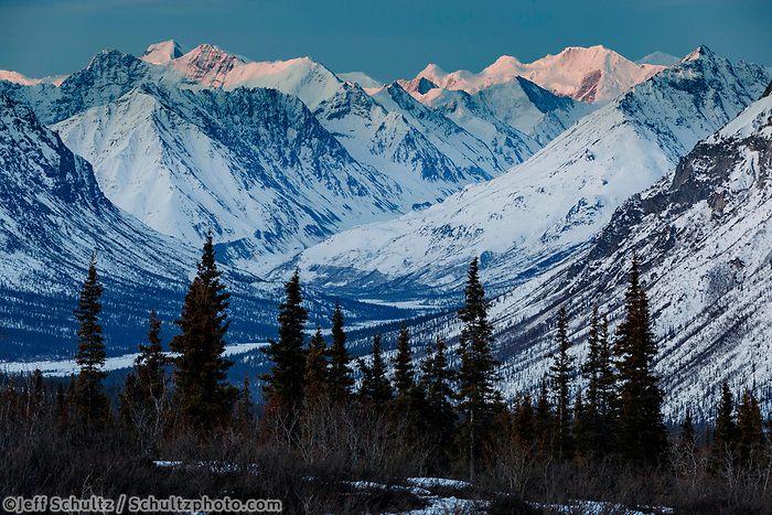 Spring Landscape of early morning sunlight on the snow-covered Chugach Mountains in the Tahneta Pass Glacier-View area of Southcentral, Alaska <br /> <br /> Photo by Jeff Schultz/  (C) 2020  ALL RIGHTS RESERVED