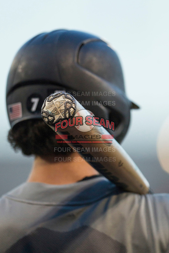 Vanderbilt Commodores shortstop Dansby Swanson (7) on deck during the NCAA College baseball World Series against the TCU Horned Frogs on June 16, 2015 at TD Ameritrade Park in Omaha, Nebraska. Vanderbilt defeated TCU 1-0. (Andrew Woolley/Four Seam Images)