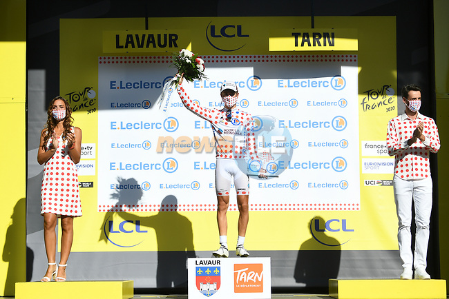 Benoit Cosnefroy (FRA) AG2R La Mondial retains the mountains Polka Dot Jersey at the end of Stage 7 of Tour de France 2020, running 168km from Millau to Lavaur, France. 4th September 2020.<br /> Picture: ASO/Alex Broadway   Cyclefile<br /> All photos usage must carry mandatory copyright credit (© Cyclefile   ASO/Alex Broadway)