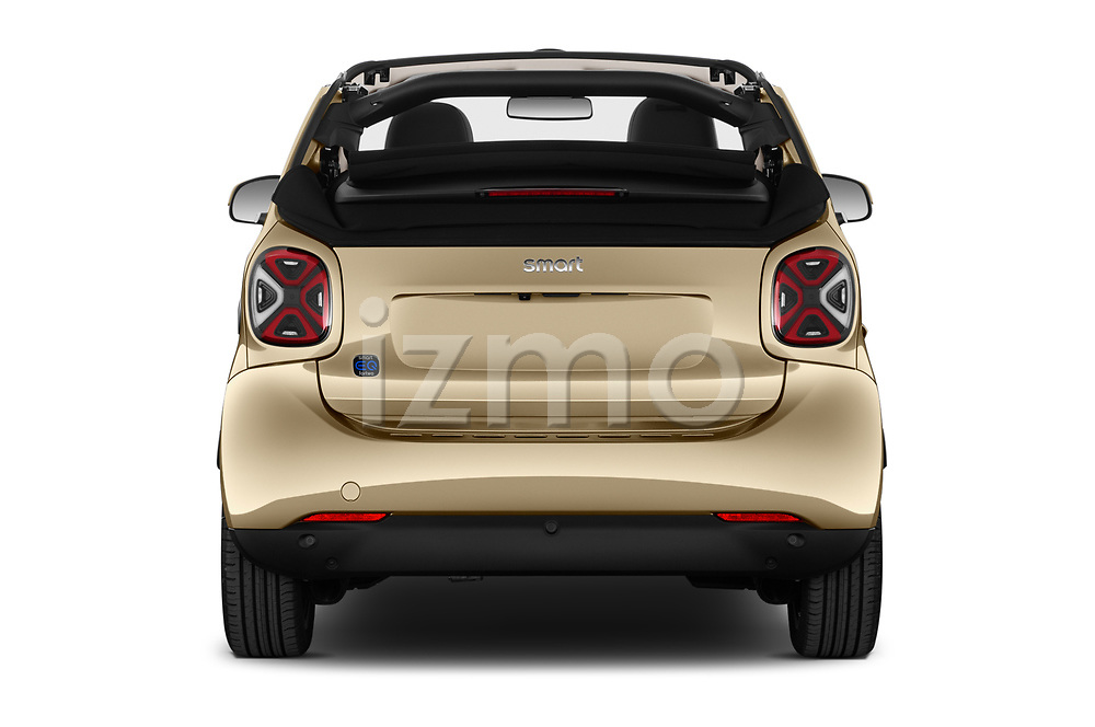 Straight rear view of 2020 Smart EQ-fortwo Comfort-Plus 2 Door Convertible Rear View  stock images