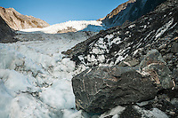 Looking towards Main Icefall of Franz Josef Glacier from Defiance Icefall, Westland National Park, West Coast, World Heritage, South Island, New Zealand