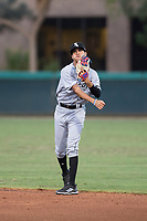 AZL White Sox second baseman Kevin Maldonado (5) throws to first base during an Arizona League game against the AZL Dodgers at Camelback Ranch on July 7, 2018 in Glendale, Arizona. The AZL Dodgers defeated the AZL White Sox by a score of 10-5. (Zachary Lucy/Four Seam Images)