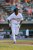 Shortstop Elmer Reyes (13) of the Lynchburg Hillcats in a game against the Wilmington Blue Rocks on Tuesday, June 25, 2013, at Calvin Falwell Field in Lynchburg, Virginia. Lynchburg won, 3-2. (Tom Priddy/Four Seam Images)