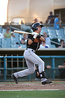 Dom Nunez (9) of the Modesto Nuts bats against the Lancaster JetHawks at The Hanger on June 7, 2016 in Lancaster, California. Lancaster defeated Modesto, 3-2. (Larry Goren/Four Seam Images)