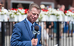 July 17, 2021: Fox Sports Analyst Richard Migliore gets ready for an interview at Saratoga Race Course in Saratoga Springs, New York on July 17, 2021. Rob Simmons/Eclipse Sportswire/CSM