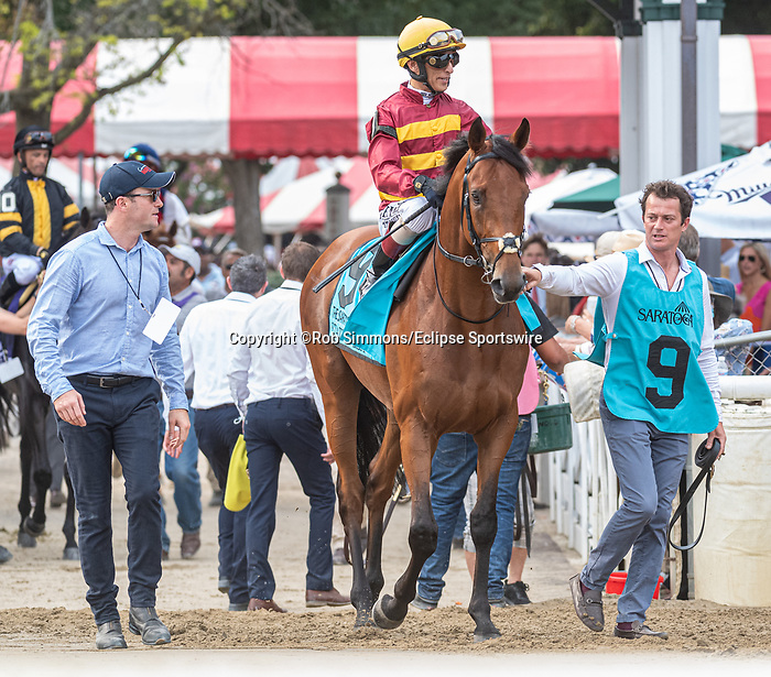 August 07, 2021: State of Rest #9, ridden by jockey John Velazquez. in the post parade for the Saratoga Derby Invitational (Grade 1) at Saratoga Race Course in Saratoga Springs, N.Y. Robert Simmons/Eclipse Sportswire/CSM
