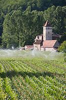 Europe/France/Midi-Pyrénées/46/Lot/env de Cénevières: arrosage champ de maïs et ferme quercynoise avec tour pigeonnier