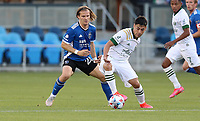 SAN JOSE, CA - MAY 15: Florian Jungwirth #23 of the San Jose Earthquakes defending during a game between Portland Timbers and San Jose Earthquakes at PayPal Park on May 15, 2021 in San Jose, California.