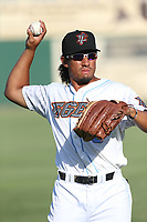 Jahmai Jones (19) of the Inland Empire 66ers throws before a game against against the Rancho Cucamonga Quakes at San Manuel Stadium on July 29, 2017 in San Bernardino, California. Inland Empire defeated Rancho Cucamonga, 6-4. (Larry Goren/Four Seam Images)