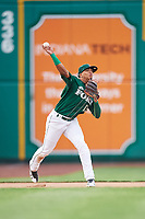 Fort Wayne TinCaps third baseman Luis Almanzar (13) throws to first base during a game against the West Michigan Whitecaps on May 17, 2018 at Parkview Field in Fort Wayne, Indiana.  Fort Wayne defeated West Michigan 7-3.  (Mike Janes/Four Seam Images)
