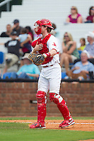 Johnson City Cardinals catcher Charlie Neil (32) gives defensive signs during the game against the Elizabethton Twins at Cardinal Park on July 27, 2014 in Johnson City, Tennessee.  The game was suspended in the top of the 5th inning with the Twins leading the Cardinals 7-6.  (Brian Westerholt/Four Seam Images)