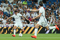 Real Madrid's James Rodriguez and Gareth Bale during the XXXVII Bernabeu trophy between Real Madrid and Stade de Reims at the Santiago Bernabeu Stadium. August 15, 2016. (ALTERPHOTOS/Rodrigo Jimenez) /NORTEPHOTO