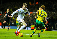 Leeds United's Jack Clarke runs at Norwich City's Jamal Lewis<br /> <br /> Photographer Alex Dodd/CameraSport<br /> <br /> The EFL Sky Bet Championship - Leeds United v Norwich City - Saturday 2nd February 2019 - Elland Road - Leeds<br /> <br /> World Copyright © 2019 CameraSport. All rights reserved. 43 Linden Ave. Countesthorpe. Leicester. England. LE8 5PG - Tel: +44 (0) 116 277 4147 - admin@camerasport.com - www.camerasport.com