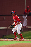 GCL Phillies first baseman Jose Antequera (9) waits for a throw during a game against the GCL Braves on August 3, 2016 at the Carpenter Complex in Clearwater, Florida.  GCL Phillies defeated GCL Braves 4-3 in a rain shortened six inning game.  (Mike Janes/Four Seam Images)