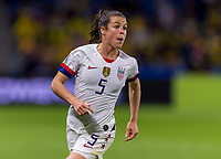 LE HAVRE,  - JUNE 20: Kelley O'Hara #5 yells to her teammates during a game between Sweden and USWNT at Stade Oceane on June 20, 2019 in Le Havre, France.
